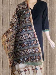 Buy Painted Borders - Missing Weave Silk Cotton Kalamkari Dupatta