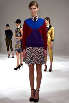 Ostwald Helgason colour block style jumper in cotton, blending fun and intelligence with mauve and cerulean. £165