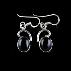 NATURAL BLACK ONYX GEMSTONE 925 STERLING SILVER JEWELRY HANDMADE EARRINGS KJE121 #Unbranded