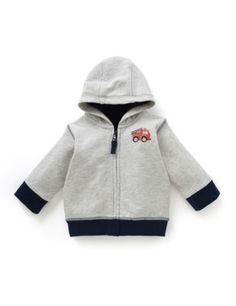 Pure Cotton Fire Engine Print Hooded Sweat Top | M&S