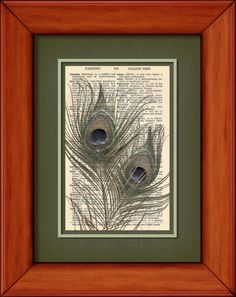 Dictionary Print  Two Peacock Feathers  6 3/4 x 9 by PagesOfAges, $7.00