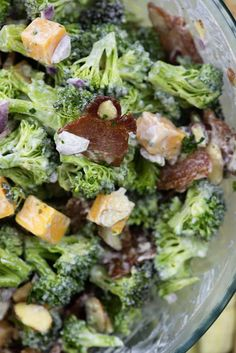 This broccoli salad with bacon will be the hit of your next dinner! This broccoli salad is naturally low carb, loaded with bacon, cheddar, and almonds, and the homemade dressing is so flavorful!
