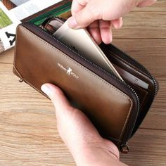 WILLLIAMPOLO 2018 Vintage Leather Long Wallet With Wrist Strip ID