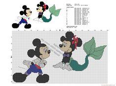 Disney Mickey y Minnie cómo La sirenita patrón punto de cruz