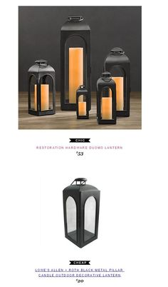 Restoration Hardware Duomo Lantern $53 vs Lowe's Allen + Roth Black Metal Pillar Candle Outdoor Decorative Lantern $20