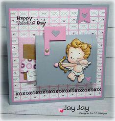 Roberto's Rascals Cupids Clear Stamp, C.C. Designs Smoochie Sentiments Clear Stamp, C.C. Designs Smoochie Paper Pad, C.C. Cutters Make A Card #12 Smoochies Die, C.C. Cutters Baggie and Tag Die