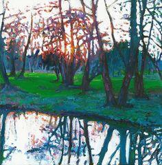 """Sunset on Loddon"" - oil on canvas, in Landscape"