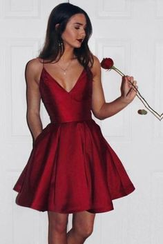 Burgundy Cute Simple Spaghetti Straps Homecoming Dress Party Dress PG125