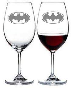 Bat Signal Wine Glasses