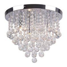 'Aliyah' Crystal Glass Flush Ceiling Light