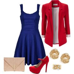 Red, white and blue with a trendy twist -- I would wear something like this! Except for the heels, maybe.