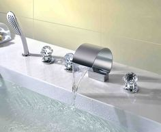Ceramic Valve Chrome plated Waterfall Bathtub Faucet At FaucetsDeal.com