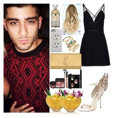 """Night out with Zayn"" by zandramalik ❤ liked on Polyvore featuring Prada, Sophia Webster, Yves Saint Laurent, Freida Rothman and Lipsy"