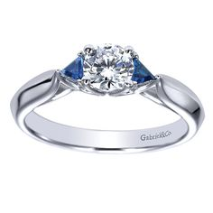 14k White Gold Diamond And Sapphire 3 Stones Engagement Ring | Gabriel & Co NY | ER98685W44SA.CSD4