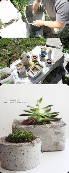 DIY : Make a Pot Planter from Concrete                                                                                                                                                                                 More