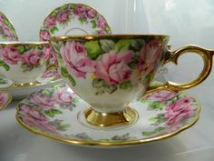 Royal Sealy China Cups and Saucers Roses Set of 6