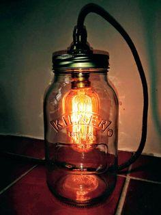 Mason Jar Lamp , Mason Jar Light , Kilner Jar lamp, Rustic style UK