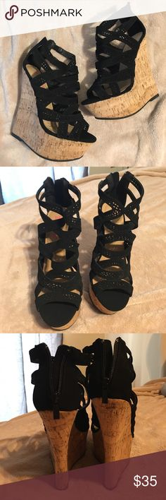 Black platform wedge shoes JustFab brand (listing for exposure)wedges 6.5 inch wedge height black velvet material cut out design ,zipper backing cute for summer ! Never worn Jeffrey Campbell Shoes Wedges