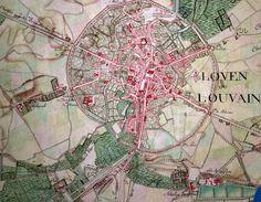 Leuven landkaart, Ferraris, 1777. Nog geen Bondgenotenlaan, geen Ladeuze- of Hooverplein.
