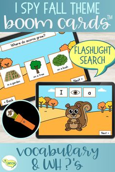 This Fall vocabulary flashlight search Boom deck lets your students practice their vocabulary and WH questions in a fun and interactive I Spy game! These digital task cards feature 12 Fall vocabulary words with a carrier phrase (I see a) and one WH question for each word. Kids use the flashlight to search in the dark for their words! #vocabulary #fallactivities #speechtherapy Vocabulary Activities, Language Activities, Vocabulary Words, Reading Activities, Receptive Language, Speech And Language, Speech Therapy Themes, Halloween Vocabulary, Wh Questions