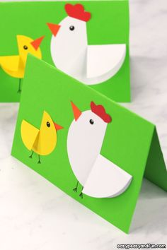 Preschool Paper Circle Hen and Chick Craft – Easter Card Idea – Easy Peasy and Fun Check more at www.childrenactiv… - Preschool Paper Circle Hen and Chick Craft - Easter Card Idea - Easy Peasy and Fun Easy Easter Crafts, Paper Crafts For Kids, Crafts To Do, Preschool Crafts, Paper Easter Crafts, Easter Crafts For Preschoolers, Easy Crafts, Diy Easter Cards, Craft Activities