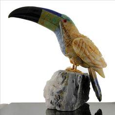 Handmade Gemstone TOUCAN Bird Sculpture Serpentine Sodalite Onyx Calcite Perch