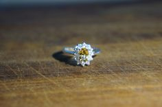 Genuine Citrine Ring Gemtone Engagement Ring  with CZ Accents Sterling Silver Ring November Birthstone ALL SIZES
