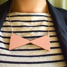 Wooden Bow Tie Necklace by lucie0ellen on Etsy, £15.00