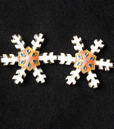 TWO Peach CLOISONNE Snowflake CENTERPIECE Beads 8638G - Premium Bead