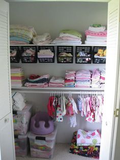 With a well-placed rod and a few S-hooks, you can hang mini bins at an angle in your kids' closet. Now storing and sorting is literally just a toss away. See more at Sawdust & Embryos »