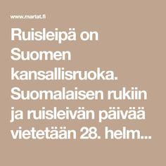 Ruisleipä on Suomen kansallisruoka. Suomalaisen rukiin ja ruisleivän päivää vietetään 28. helmikuuta. Leivo ruisleipää rohkeasti itse – kokeile myös leipäjuuren…