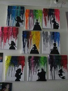 Melted crayons with Disney silhouettes so cute!