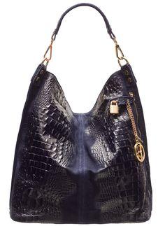 Dámská kožená kabelka krokodýl - modrá96eu, 38x36cm