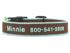 Bamboo Brown and Aqua Dog Collar - BeauJax Boutique Beautiful plain or monogrammed, this Earth friendly bamboo collar is made right here in the U.S.A. just for your fur baby! It's soft, comfortable and strong, and has an easy wear style. www.beaujax.com