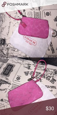 Pink Coach Wristlet Bright pink Coach Wristlet. Mint condition, used with care. Coach cover is included. Fits iphone5/5s. Great for inside of Coach bags, or even as a wallet! Coach Bags Clutches & Wristlets