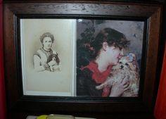 Gabrielle Rejane, apprezzata attrice francese della Belle Époque, con uno dei suoi cagnolini, in un cdv dello studio Reutlinger di Parigi e in un ritratto di Giovanni Boldini...