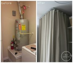 Basement Laundry Room Makeover : Ikea Kvartal Track System *Do This In My  New Laundry Room To Cover Up The Ugly Water Heater! | Pinterest | Tracking  System ...