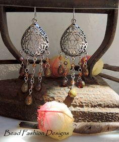 Embmer Picasso Czech DropsAntique by BeadFashionDesigns on Etsy