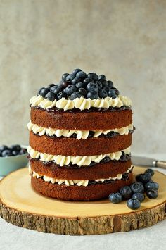 Blueberry banana buckwheat layer cake with vanilla mascarpone cream frosting…