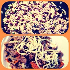 Delicious snack! Brown rice, black beans warmed up with chopped onions, chopped cilantro, and black pepper. I add vegetable stock to the rice while it simmers to give it flavor. Put everything together after everything is cooked and warm. We then added crushed tortilla chips and shredded cheese (the cheese made the dish) and we ate it like a salad.