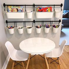 I am OBSESSED with this arts and crafts set up! playroom ideas for boys basements Playroom Organization, Kids Playroom Storage, Small Playroom, Organized Playroom, Playroom Shelves, Ikea Toy Storage, Ikea Kids Room, Baby Toy Storage, Colorful Playroom