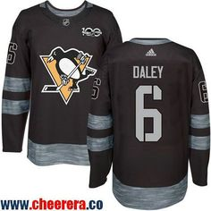 Men's Pittsburgh Penguins #6 Trevor Daley Black 100th Anniversary Stitched NHL 2017 adidas Hockey Jersey