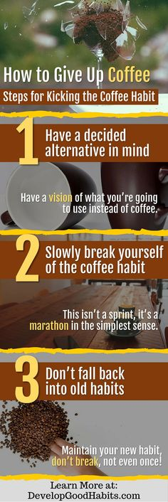 Three simple steps for giving up coffee. If you want to stop having the heavy caffeine of coffee these three simple steps will help you do it. Find out more details about each step by clicking through to the full article about kicking the coffee habit