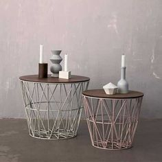http://www.hollys-house.com/collections/storage/products/large-wire-basket-table  Pretty tables