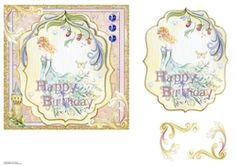 This subtly colored design has a beautiful fairy princess floating through the air. In one corner is her palace. Decoupage the princess and two corner floral shapes. On the card it says Happy Birthday Fairy Princesses, Beautiful Fairies, Printable Crafts, Card Designs, Decoupage, Vintage World Maps, Card Making, Happy Birthday, Shapes