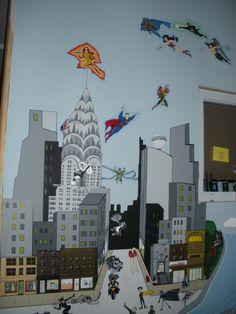 My awesome Kids playroom Super Heroes Mural, by RLR
