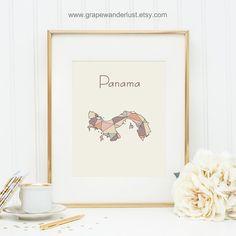 Panama map Panama art Panama poster geometric by GrapeWanderlust