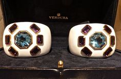 VERDURA / Cuffs using vintage brooches / With the new Diana Vreeland documentary opening in a few weeks, Verdura has designed these Byzantine cuffs, a version of her classic signature pieces with over 70 carats of amethysts and 60 carats of aquamarines.