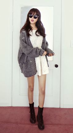 Mini dress, oversized knit + slouchy boots