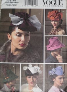 Vogue 8175 - Hats from the Past